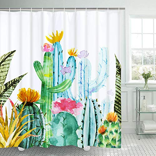 Tropical Cactus Shower Curtain Cactus Flower Bathroom Curtain Durable Bath Curtain Decor Bathroom Accessory with 12 Hooks