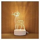 YSDSPTG Lampe de Table créative Lampe de Table de Dessin animé 3D 3D USB LED Mignon Night Light Home Decor Décor Children's Chambre à Coucher Décor Lampe Cadeau de Noël (Lampshade Color : Deer)