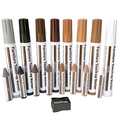 Möbel-Reparatur-Set für Holz-Marker, zum Ausbessern, Markierungen und Wachs-Sticks, für Flecken, Kratzer, Holzböden, Tische, Tisch, Tischler, Bettpfosten, Filzstifte, Wachsstäbe mit Spitzer