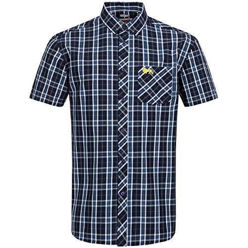 Lonsdale Mens KABER Shirt, Navy/Ecru/Yellow, Large