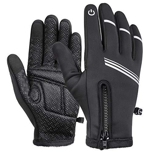 LY4U Fahrradhandschuhe Herren Damen Vollfinger Wasserdicht Touchscreen Winter Warm Fleece Linie Handschuhe Winddicht Anti-Rutsch Mountainbike Laufen Gartenhandschuhe