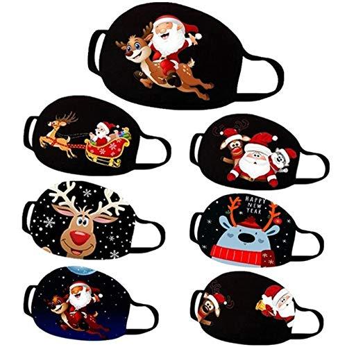 PcLeam Face Cover Daily Mundschutz 3D Weihnachten Karikatur Drucken Unisex Waschbar Halstuch Atmungsaktiv Bandana Winddicht Face Scarf Weihnachten Geschenk Motorrad Fahrrad Joggen Schal(C16)