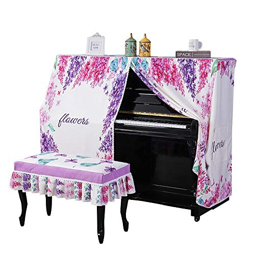 Cheapest Prices! Fashion Piano Cover Flowers Pattern Upright Piano Cover with Bench Cover Bordered D...