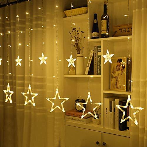 Gaocunh LED Lichtervorhang Sterne Weihnachtsbeleuchtung, Lichtervorhang Fenster Weihnachtslichterkette, weihnachtsdeko, 12 Sterne 138pcs LED, 8 Modi, Dekoration für Weihnachten, Balkon,Party. Warmweiß