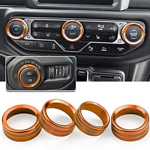 JL JLU Gladiator JT Climate Volume Auto Knobs Ring Air Conditioner Headlight Switch Trim Cover Center Console Knob fit for 2018-2021 Jeep Wrangler JL JLU Gladiator JT Accessories 4pcs (Orange)