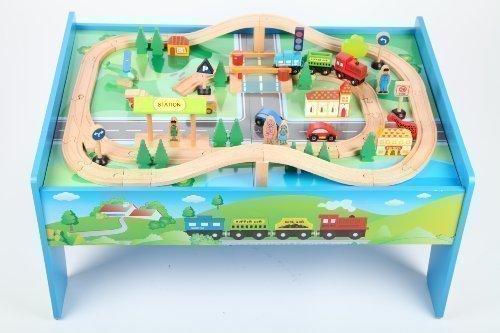 point-kids Holzeisenbahn Spielzeugeisenbahn Lok Waggon Brücke Figuren Schienen Set 70 Teile