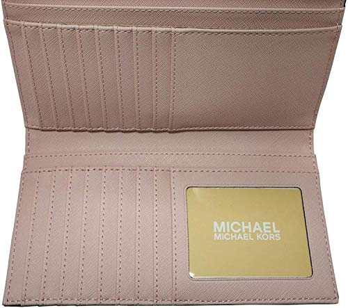 "Measures approximately Width: 7.25"" Height: 4"" Depth: 1"". Flap style snap closure on the front and zippered accordion pocket on the back. Polished hardware ""MICHAEL KORS"" in block letters on center of front flap. Interior: 4 unfolded bill sleeves, 1 ..."
