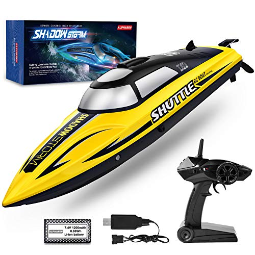RC Boat AlphaRev R208 20 MPH Fast Remote Control Boat for Pools and Lakes RC Boats for Adults and Kids