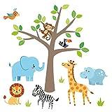 Little Deco Wandaufkleber Safari Dschungel Tiere I Wandbild 161 x 97 cm (BxH) I Sticker Elefant Giraffe Löwe Wandtattoo Babyzimmer Deko modern Kinderzimmer DL518A