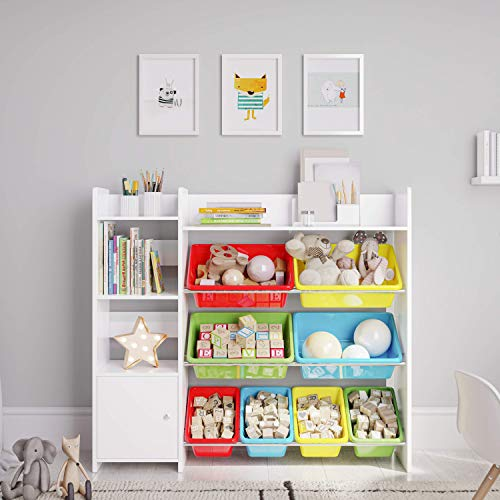 Wooden Multi Toy Bin with Shelf