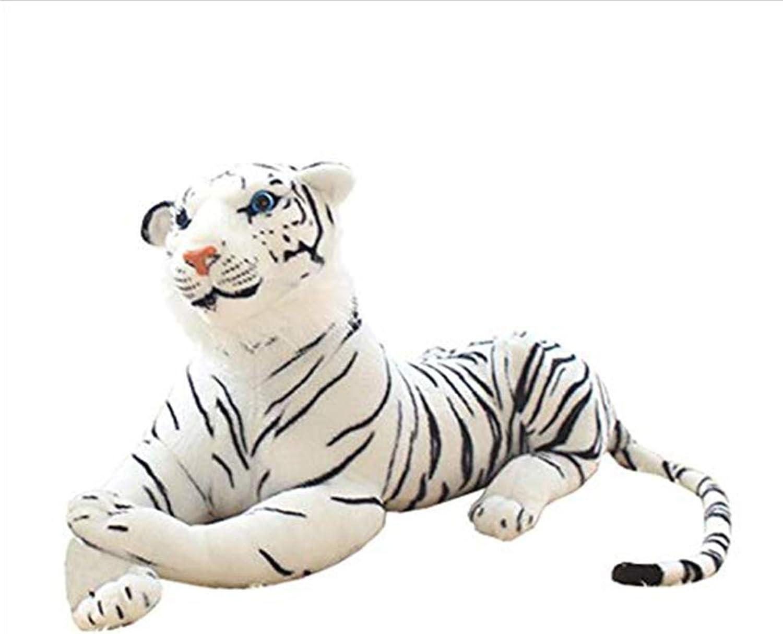 Plush Toy Simulation Animal White Tiger Stuffed Animal Doll Zoo Model Toy Wild Animal Tiger Doll Large Pillow Birthday Gift Girl, Black + White,30cm