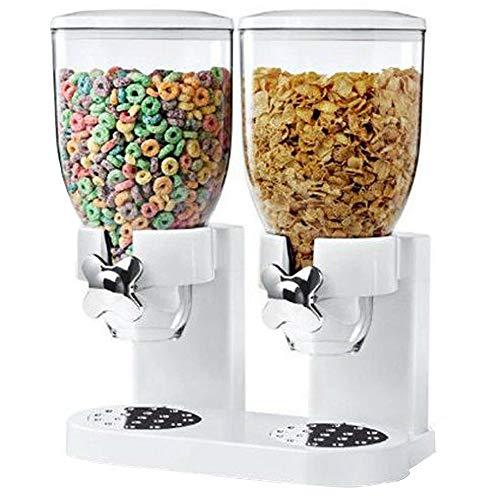 Moonvvin Moonvvin - Dispensador de cereales y alimentos secos de plástico transparente doble, mantiene los alimentos frescos/ideal para control de porciones, Blanco, 33 * 42cm/13...