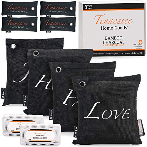 TENNESSEE HOME GOODS - Bamboo Charcoal Air Purifying Bags - 10-Pack Natural Organic Freshener, Deodorizer, Odor Eliminator - Reusable, Nature-Safe, Non-Toxic, Travel-Friendly – 4x500g, 4x75g, 2xFridge