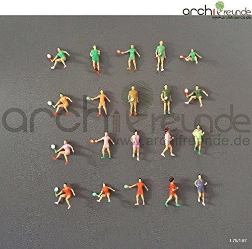 7 x Modell Sportler Sport Figuren joggen tennisspielen Läufer Tennisspieler 1:75/1:87 Modelleisenbahn Spur 00 / SpurH0