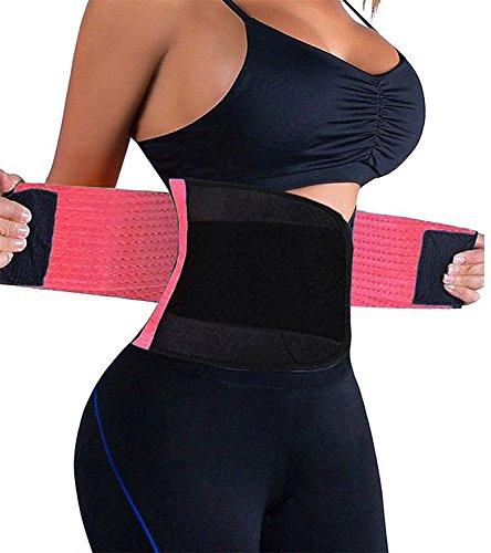 KOOCHY Waist Trainer Belt for Women-Waist Cincher Trimmer Weight Loss Belt-Tummy Control Slimming Body Shaper Belt(Pink,Large)