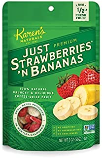 Karen's Naturals Just Strawberries 'N Bananas, 2 Ounce Pouch, All Natural Freeze Dried Fruit, Vegan, Gluten Free, Healthy ...