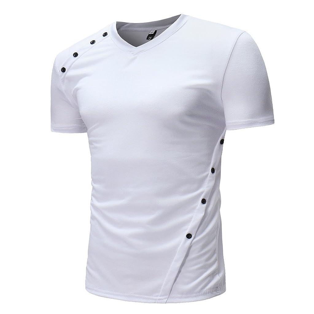 ドル高音不定[シャオメイスター] tシャツ 半袖 メンズ 夏 カジュアル 無地 ボタン Vネック シャツ トップブラウス
