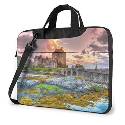 Laptop Shoulder Bag - Princess Castle Near Lake Stones Moss Printed Shockproof Waterproof Laptop Shoulder Backpack Bag Briefcase 15.6 Inch