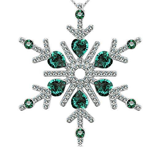 Daesar Collar Mujer,Collar Copo de Nieve Circonita Blanca Verde Collar Chapado En Oro Mujer Plata