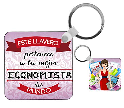 Kembilove Llavero de Economista - Este Llavero Pertenece a la Mejor Economista del Mundo - Regalos Originales para Regalar a Trabajadores Profesionales - Regalo Personalizado para Economistas