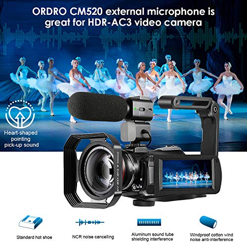 4K Camcorder Vlogging Camera for YouTube ORDRO HDR-AC3 Ultra HD Video Camera 1080P 60FPS IR Night Vision Wi-Fi Camera Recorder Digital Camcorders with Microphone Wide Angle Lens Handheld Stabilizer