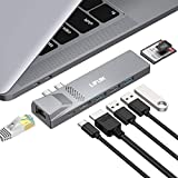 MacBook Pro USB C Hub, 8-in-2 USB C Adapter with Thunderbolt 3 USB C Port, 4K HDMI, USB 3.0, 100W Power Delivery, Ethernet Port and SD/TF Card Reader for MacBook Pro/Air 2020/2019/2018/2017