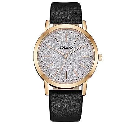 Bokeley Retro Wristwatch, Women's Casual Analog Quartz Watch Clock Leather Band Wrist Watch (A)