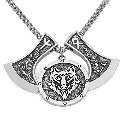 ZDXR Viking Amulet Double Crow Wolf Head Axe Tiger Head Logo Pendant Men's Necklace-Ancient Silver