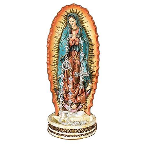 Elysian Gift Shop - Rosario de oración de Virgen Nuestra Señora de Guadalupe de 8 Pulgadas con Estatua de Virgen María. Incluye Nuestro Rosario devocional Lady of Guadalupe con Cuentas Verdes