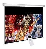 RolloLux Écran motorisé 300 x 169 cm - Format 16:9 / FULL-HD / 3D / 4K / 8K / Home Cinema / Facteur de gain 1,2 / pour Mur ou Plafond / Télécommande Incluse