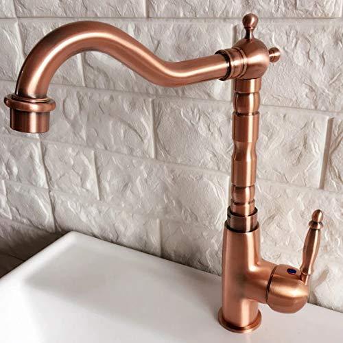 Grifo de agua con caño giratorio, grifo mezclador de lavabo de una manija de cobre rojo antiguo de un solo orificio para fregadero de cocina y grifo de baño