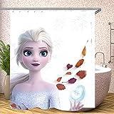 Fgolphd Forzen Duschvorhang Disney ELSA 180x200180x180 200x240 Eiskönigin Grün BlätterStrand Bunt Badezimmerteppich 4-teiliges Set,Shower Curtains Waschbar (180 x 180 cm,12)