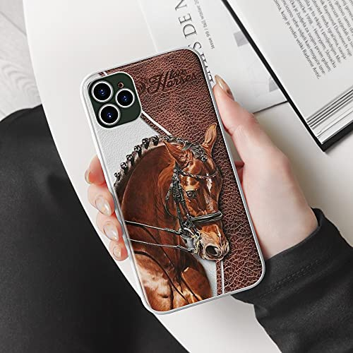 Horses Love Horses Leather Texture Patterns Animal Charger Cob Horses Lovers Best Gift Phone Case Cover for iPhone