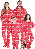SleepytimePJs Family Matching Fleece Red Snowflake Onesie Hooded Footed Pajama, Red Snowflake, Men's XL