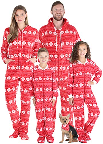 SleepytimePJs Family Matching Fleece Red Snowflake Onesie Hooded Footed Pajama, Red Snowflake, Women's LRG