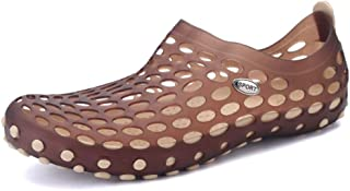 Bin Zhang Garden Beach Water Shoes for Men Clogs Sandals Slip on Style Rubber Perforated Quick-Drying Shoes (Color : Brown, Size : 6 UK)