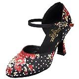Miyoopark L141 - Zapatos de baile latino con estampado floral para mujer, color Negro, talla 39 EU