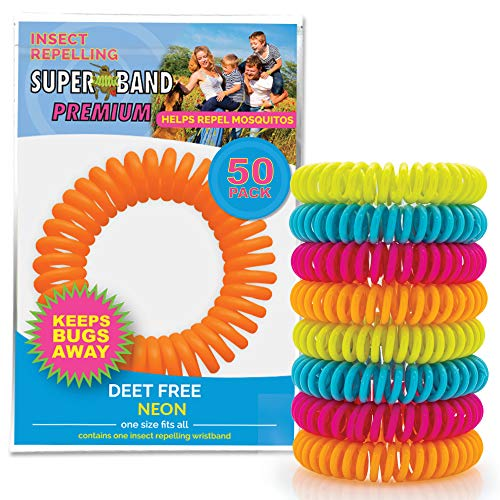 SUPERBAND Neon Mosquito Repellent Bracelet - Natural Insect & Bug Repellent Band - DEET Free & Waterproof - For Kids & Adults - Individually Wrapped - One Size Fits All - (Pack of 50)