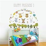 Happy Forest Animal Bunny Lieber Baum Wandaufkleber für Kinderzimmer Kinder Sofa Wohnkultur Wandtattoo Poster