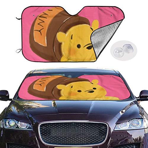 YQLDFB Parasol para Parabrisas de Coche, diseño de Oso de puf, protección contra el Calor UV, Mantiene el vehículo Fresco