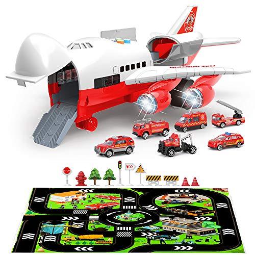 BeebeeRun Feuerwehrauto Autos Spielzeug,Feuerwehrauto Set Feuerwehrauto für Kinder,Flugzeug Spielzeug für Kinder,Auto Spielzeug Set Spielzeugautos ab 3 Jahren