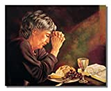 Gratitude Old Lady Praying at Dinner Table Daily...