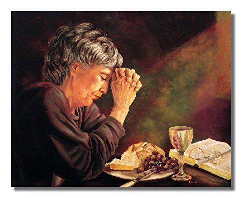 Gratitude Old Lady Praying at Dinner Table Daily Bread Woman Religious Wall Picture 16x20 Art Print