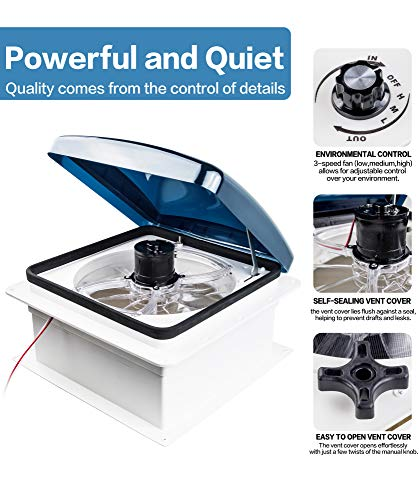 Livpow RV Roof Vent 3 Speed Reversible Manual Lift Smoke Lid