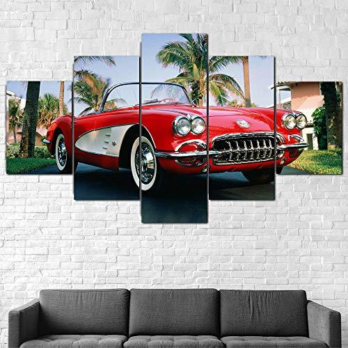 GSDFSD 5 Piezas Coche Corvette 1960 De Arte De Pared Impresión En Lienzo Animal Arte Moderno para Decoración del Hogar Sin Marco