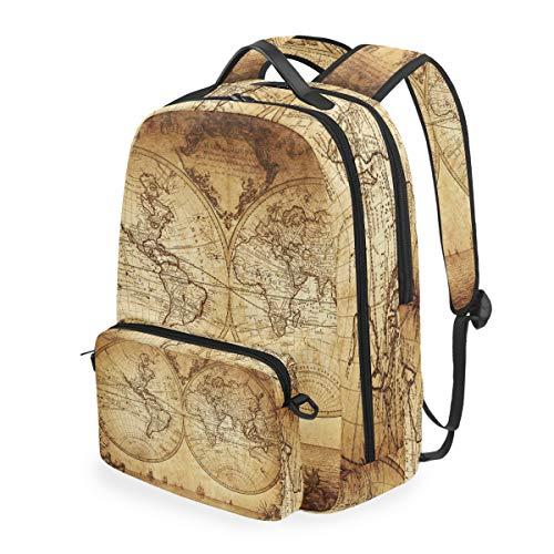 Retro-Rucksack mit Weltkarte, abnehmbar, für Studenten, Schultasche, Freizeit, Reisen, Wandern, Camping, Laptop, Tagesrucksack