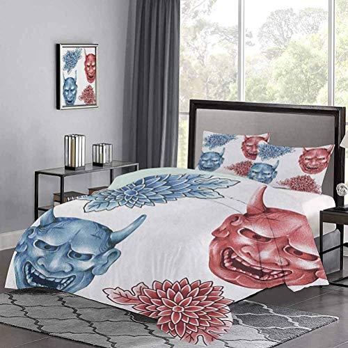 Funda nórdica de, máscaras Figuras de Demonios japonesas, Flores ornamentadas, Arte, Hermosa Funda nórdica Suave, Atractiva, fácil de Conseguir en Azul, Rojo, Blanco