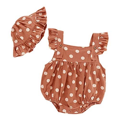 Xmiral Baby Mädchen ärmellose Punktdruck Strampler + Rüschen Hut Outfits Infant Newborn Bodysuit Einteilige Pyjamas(Rosa,6-12 Monate)