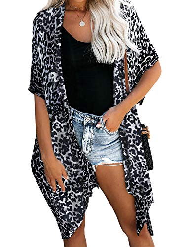 Dokotoo Womens Fashion Ladies Leopard Printed Open Front Kimonos Swimwear Cover Up Bikini Swim Swimwear Casual Boho Cover Up