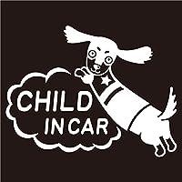 imoninn CHILD in car ステッカー 【パッケージ版】 No.38 ミニチュアダックスさん (白色)
